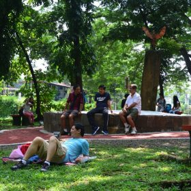 Now improved, the APO Peace Rock finds itself as tambayan for UP Students and a place of rest. Even joggers cant resist to rest for a while under the shade and the inviting benches of the peace rock.