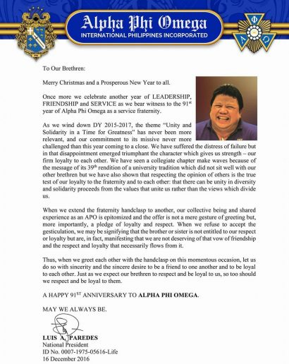 Message from the National President on our 91st Anniversary