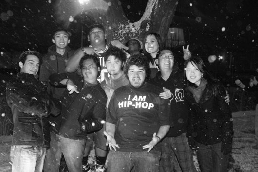 with Brothers from Rho Gamma (CSU Long Beach) freezing in the snow