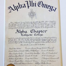 Charter of Alpha Chapter at Lafayette College in Easton Pensylvannia.