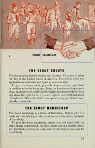 The BSA handclasp from 1927-1971 was the left-handed, interlocking pinky version. Only BSA used this. Source: BSA Handbook, 1967 Edition, Page 55